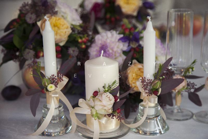 Свечи с живыми цветами