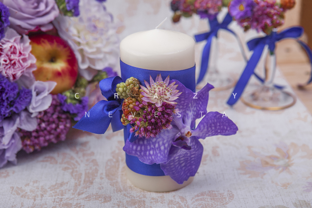 Свечи для свадьбы Лиловая орхидея
